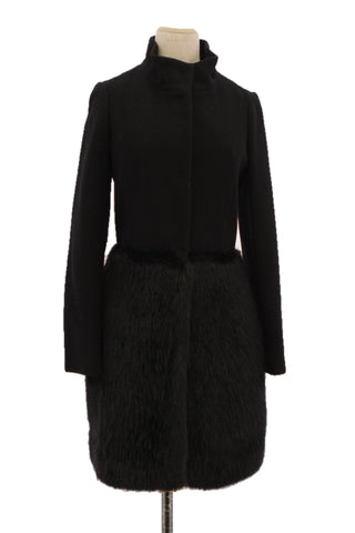 BREAD N BUTTER Black Coat with Fur Trim