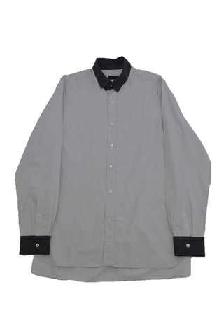 LANVIN GRAY COTTON SHIRT WITH DARK GRAY COLLAR