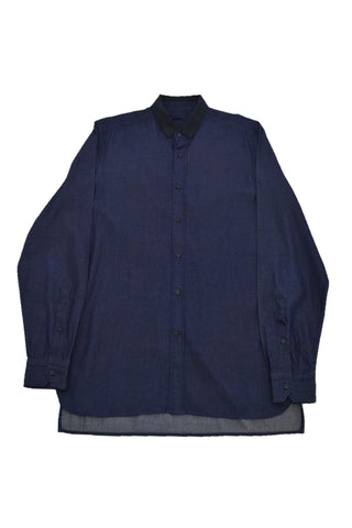 LANVIN NAVY DENIM SHIRT WITH BLACK COLLAR