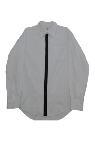 YOHJI YAMAMOTO WHITE COTTON SHIRT WITH BLACK PLACKET