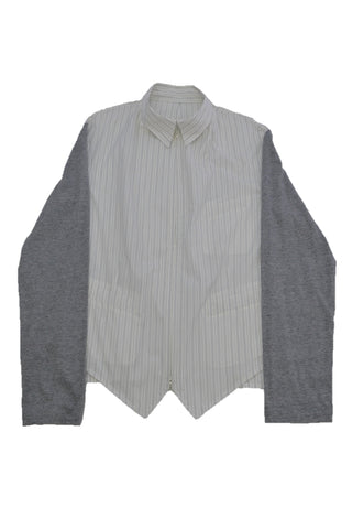 YOHJI YAMAMOTO WHITE/BROWN STRIPED COTTON SHIRT WITH GRAY KNIT SLEEVE