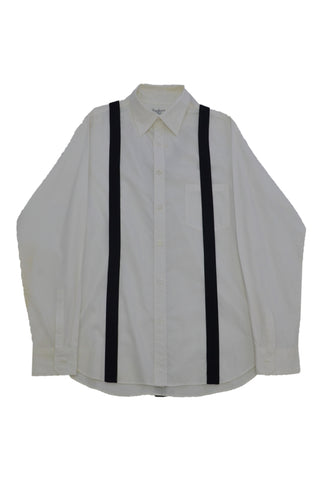 YOHJI YAMAMOTO WHITE COTTON SHIRT WITH BLACK STRIPE TRIM