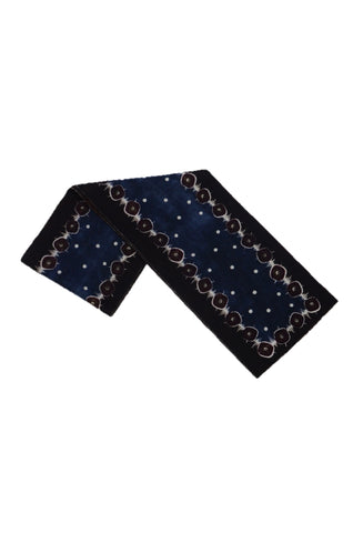 PRADA BLACK/BROWN/BLUE PRINTED CASHMERE SCARF