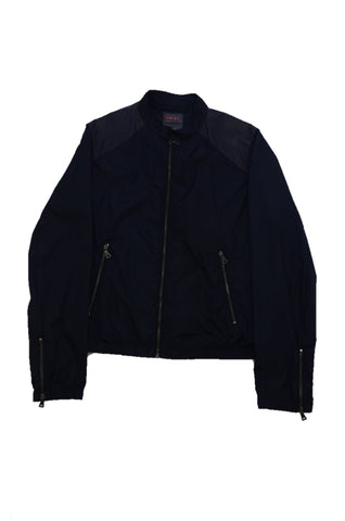 PRADA NAVY JACKET WITH LEATHER TRIM