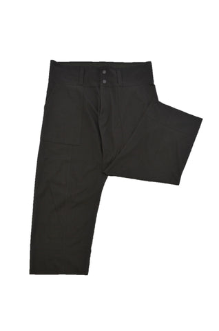 ISSEY MIYAKE OLIVE COTTON TROUSERS WITH WIDE WAISTBAND