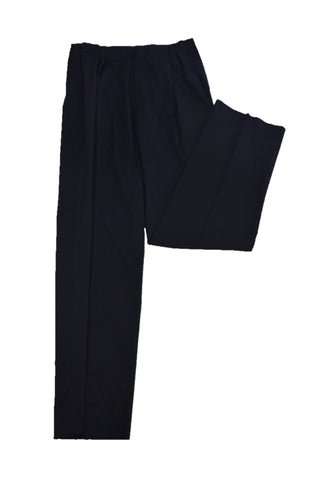 LANVIN BLACK COTTON TROUSERS WITH PLEATED WAISTLINE
