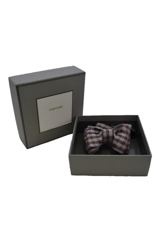 TOM FORD BROWN/WHITE SILK BOW TIE