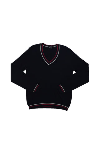 GUCCI BLACK WOOL SWEATER WITH RED/WHITE TRIM
