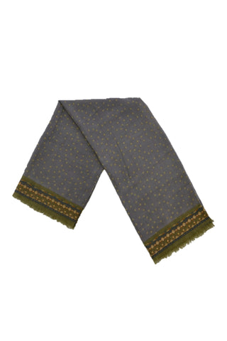 HOSS GREEN/GRAY WOOL/SILK SCARF WITH EMBROIDERY EDGE