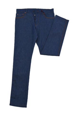 VALENTINO NAVY COTTON JEANS WITH BUTTON FLY