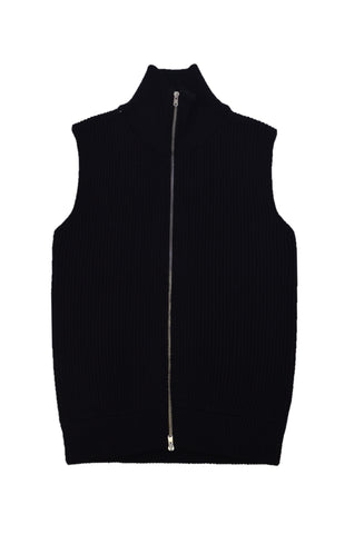 MARTIN MARGIELA BLACK WOOL VEST WITH FRONT ZIPPER