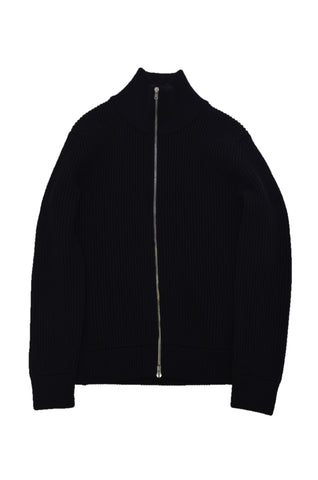 MARTIN MARGIELA BLACK WOOL CARDIGAN WITH FRONT ZIPPER