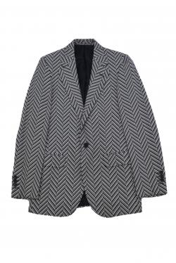 A.SAUVAGE BLACK/WHITE HERRINGBONE BLAZER