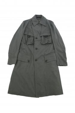 Y's GREEN DBL-BREASTED TRENCH COAT