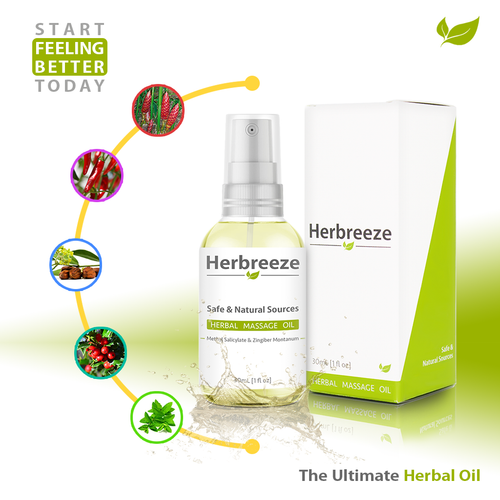 Herbreeze Fast Acting and Long Lasting Herbal Pain Relief Oil, All Natural and Safe Sources.
