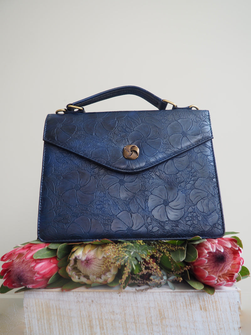 Blue Floral Leather Tooled Bag
