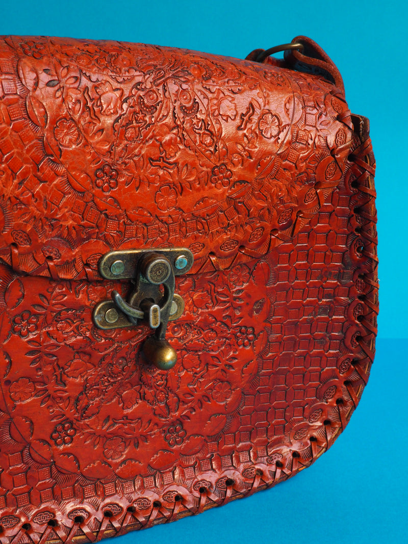 Leather Tooled Rose Bag