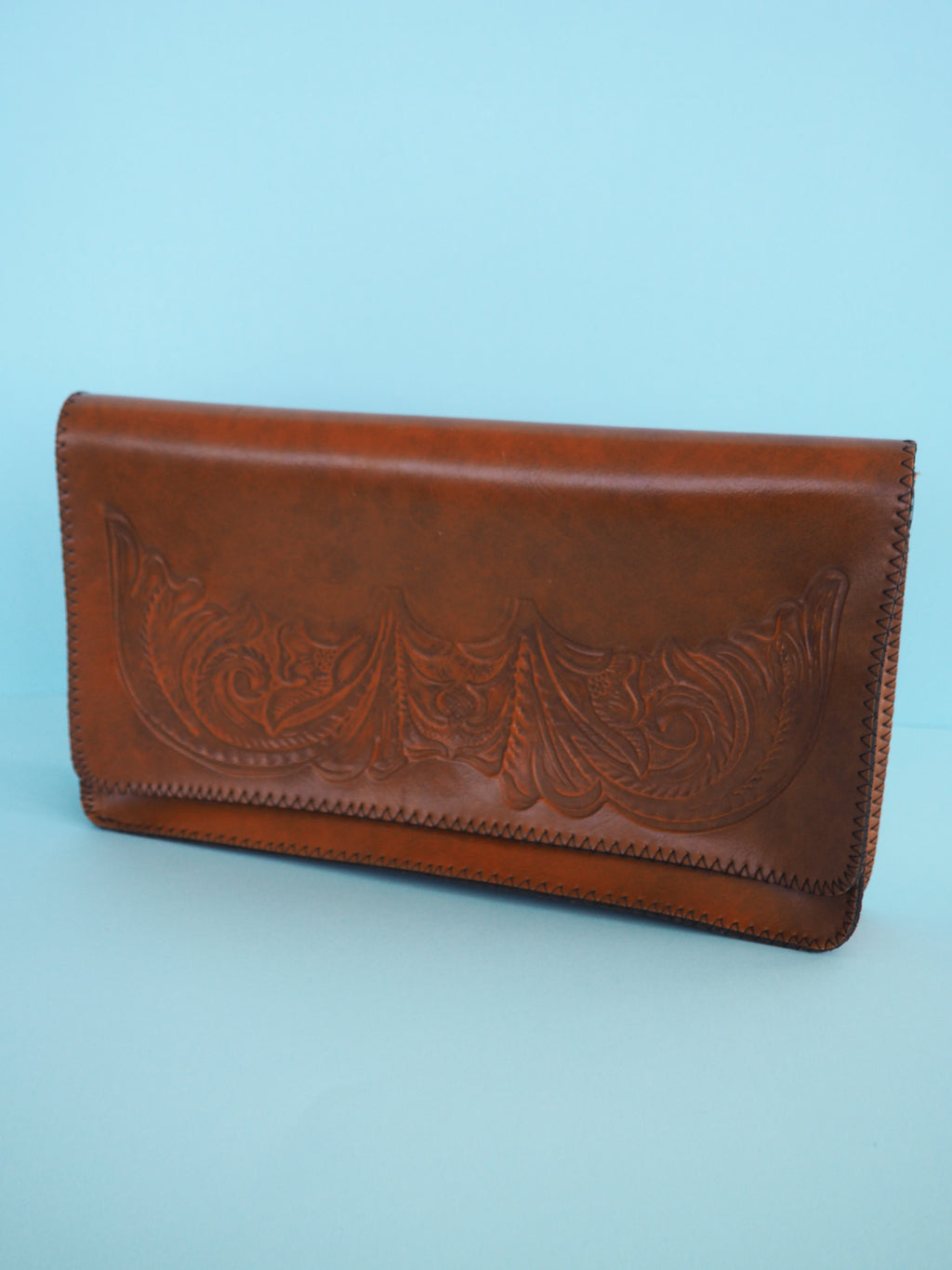 Leather Tooled Clutch