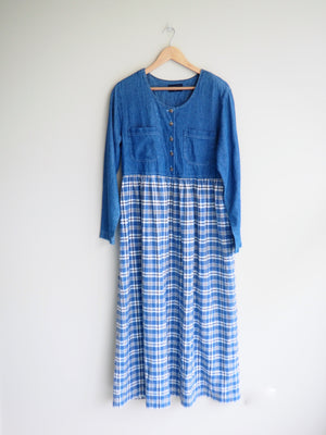 Gingham Denim Dress
