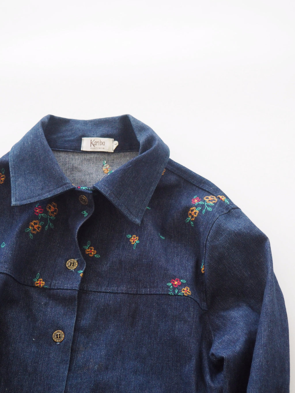 Floral Embroidered Denim Shirt