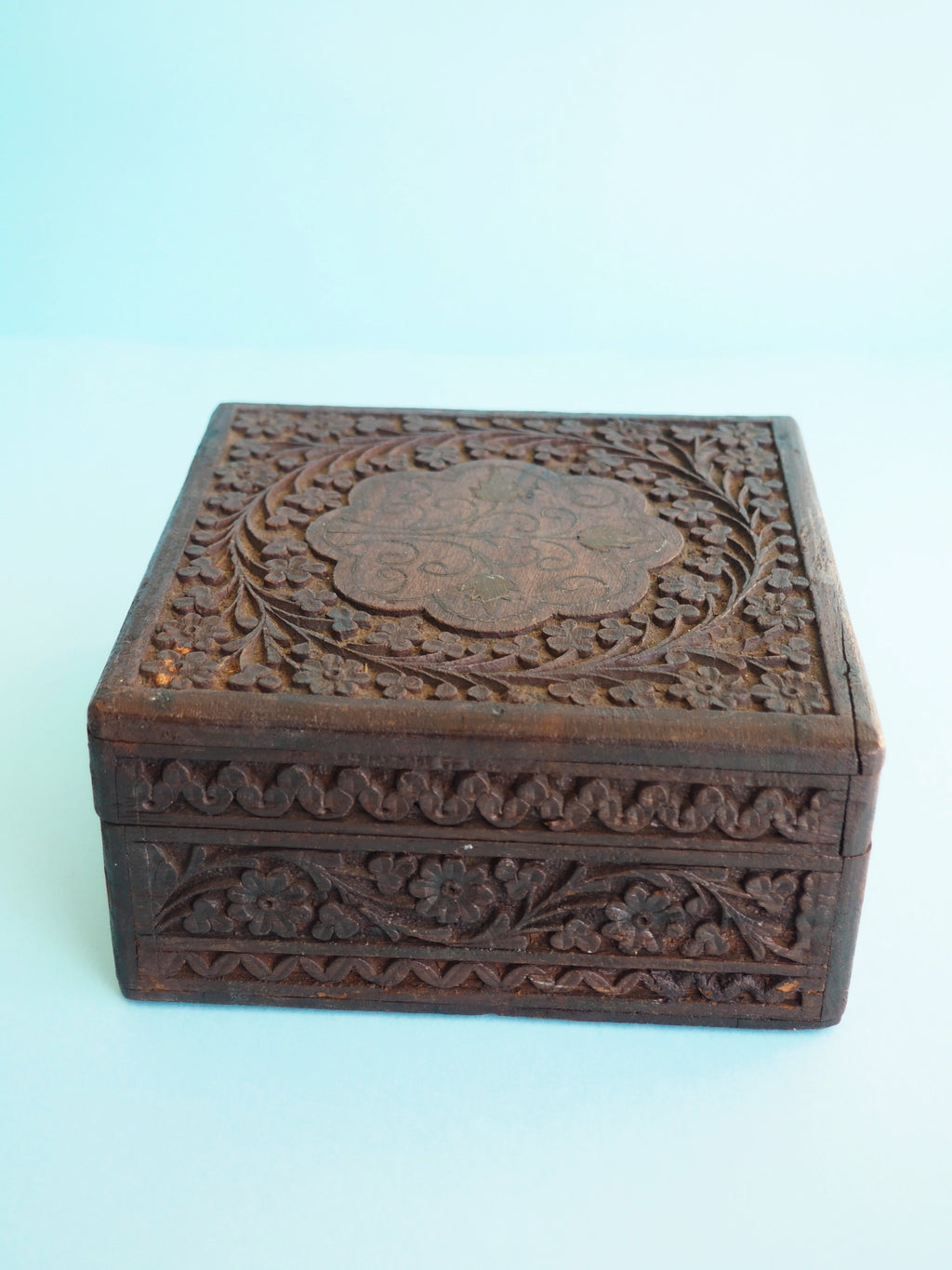 Wooden Floral Trinket Box