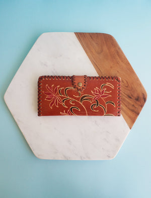 Leather Tooled Floral Wallet