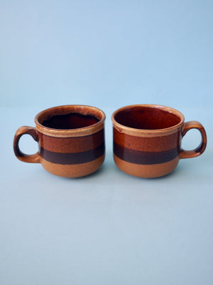 Brown Striped Mug Set