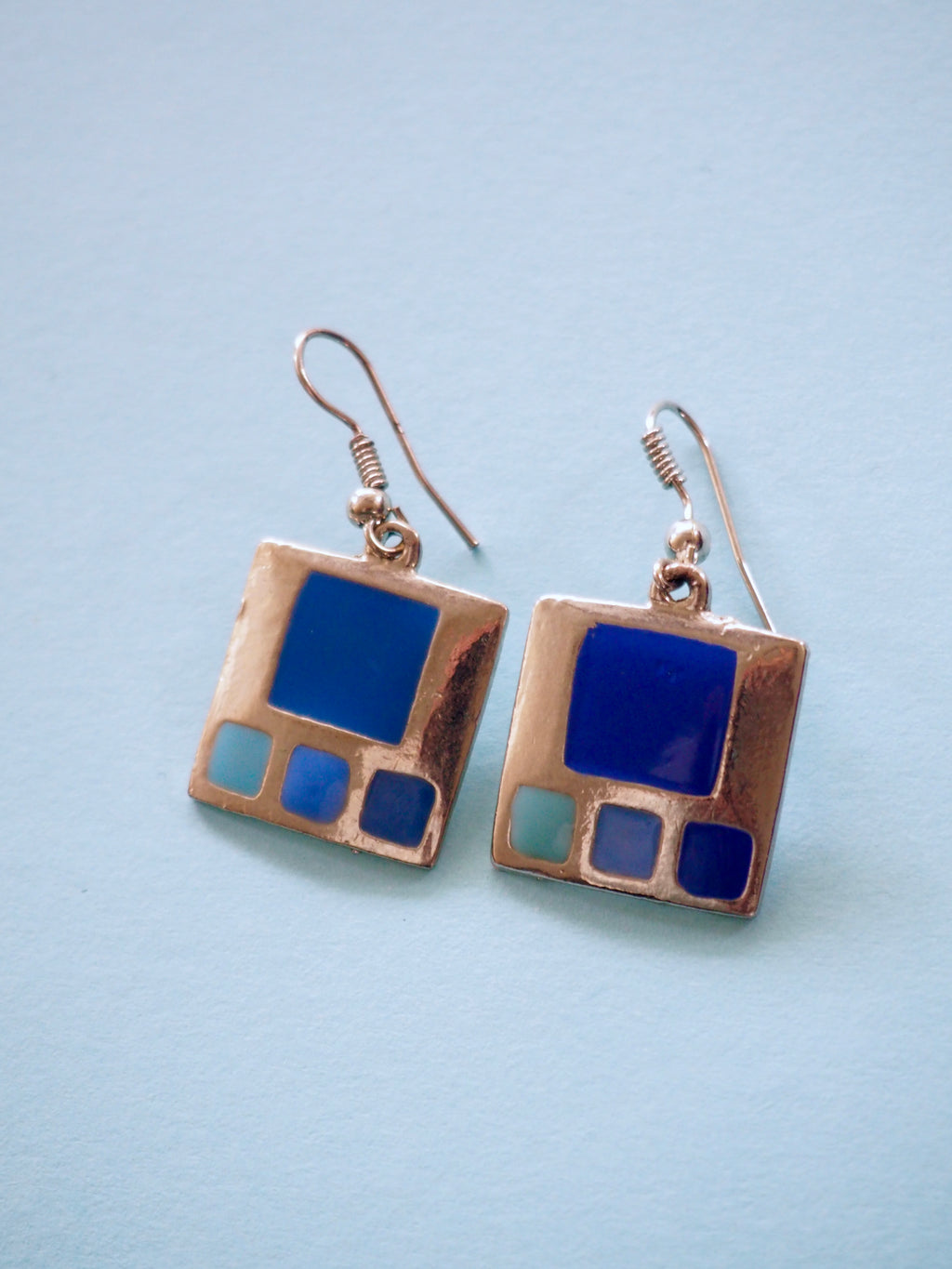 Blue Panel Earrings