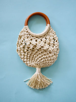 White Macrame Bag