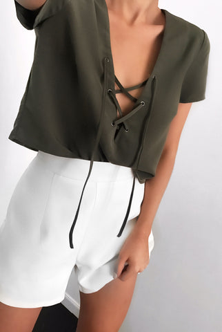 Sadie Lace Up Top - Olive