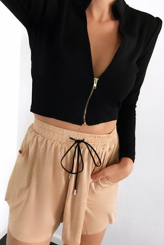 Rapture Suede Shorts - Champagne