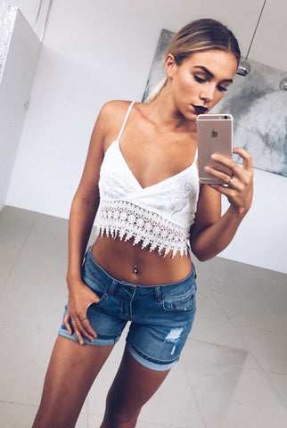 Keeping Up Lace Crop Top - White