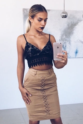 Keeping Up Lace Crop Top - Black