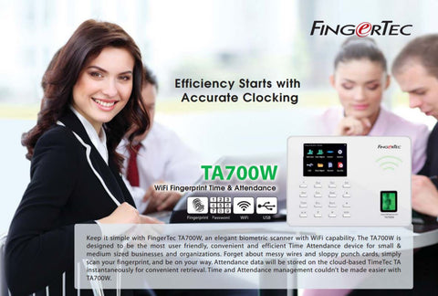 FingerTec Time Clock Special | WiFi Fingerprint Time Clock + Remote Training & Setup + 1 month cloud software + Payroll Integration Setup