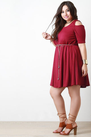 PLUS COLD SHOULDER BELTED DRESS