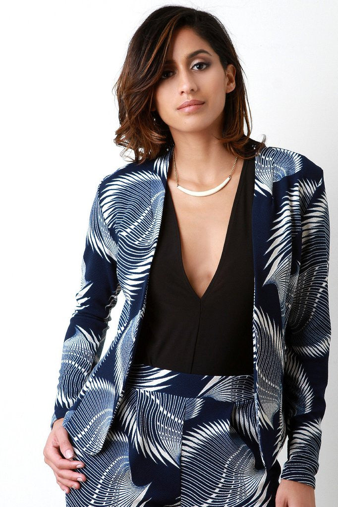ABSTRACT BLADES FLAT COLLAR BLAZER JACKET