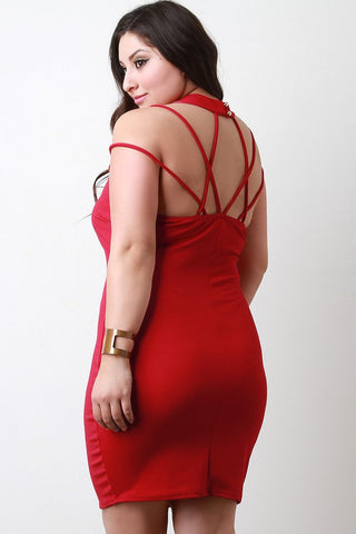 PLUS CAGED BACK BODYCON DRESS