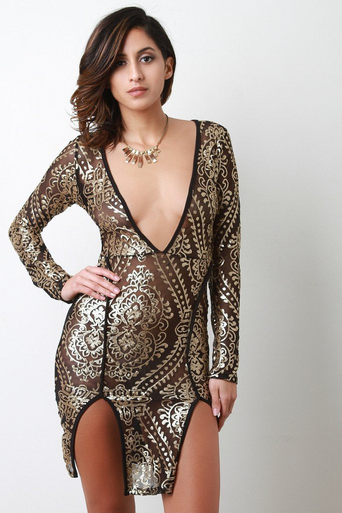 SEMI-SHEER MESH BAROQUE SEQUIN DRESS