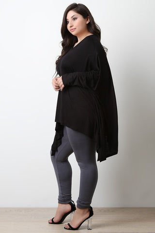 PLUS SHARKBITE LONG DOLMAN SLEEVE TOP