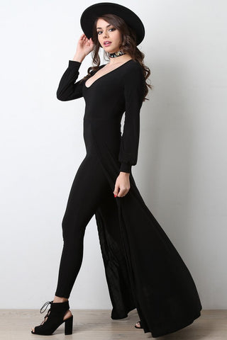 DEEP V-NECK LONG SLEEVE JUMPSUIT MAXI DRESS