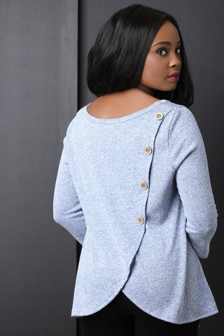 BUTTON BACK DECOR LONG SLEEVE TOP