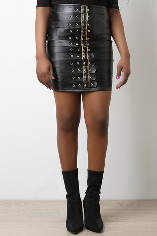 VEGAN LEATHER BUCKLE SKIRT