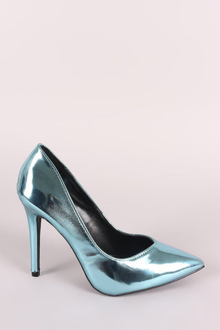 QUPID METALLIC POINTY TOE STILETTO PUMP