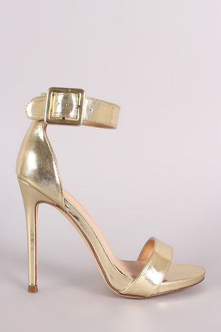 3ff69ab58200 Metallic Buckled Ankle Strap Stiletto Heel.  36.00. Liliana Strappy Buckled  Gladiator Heel