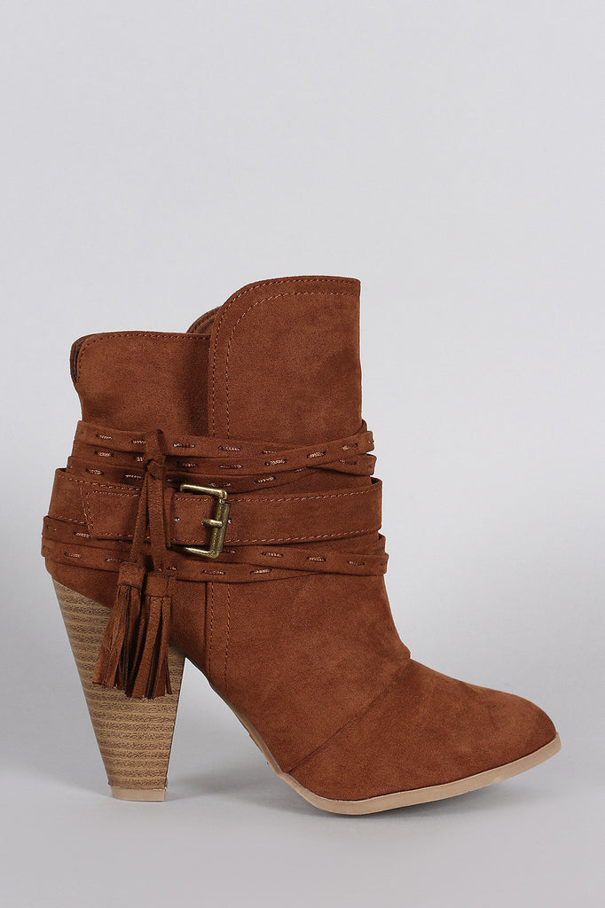 Qupid Suede Strappy Buckle Chunky Stacked Heeled Booties