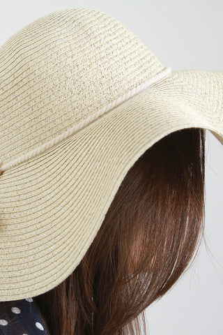 Metallic String Straw Floppy Hat