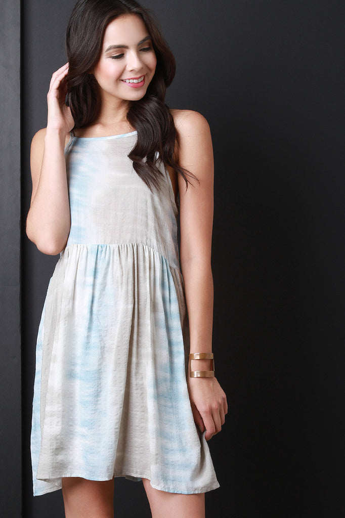 Tie Dye Sleeveless Apron Mini Dress