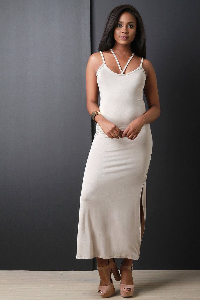 Strappy Sleeveless Double Slit Maxi Dress