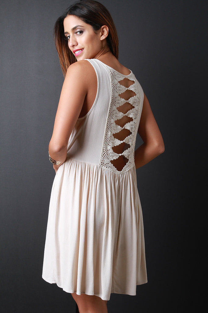 Cut-Out Crochet Back Sleeveless Mini Dress