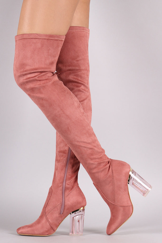 Suede Chunky Lucite Heeled Over-The-Knee Boots – Kurve Boutique